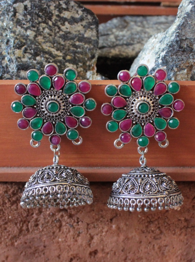 Floral Shaped Pink & Green Artificial Stone Studded Big Jhumka Earrings | Kauracious.com