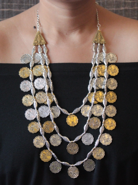 Brass based Dual Tone 3 Layered Coin Necklace | kauracious.com