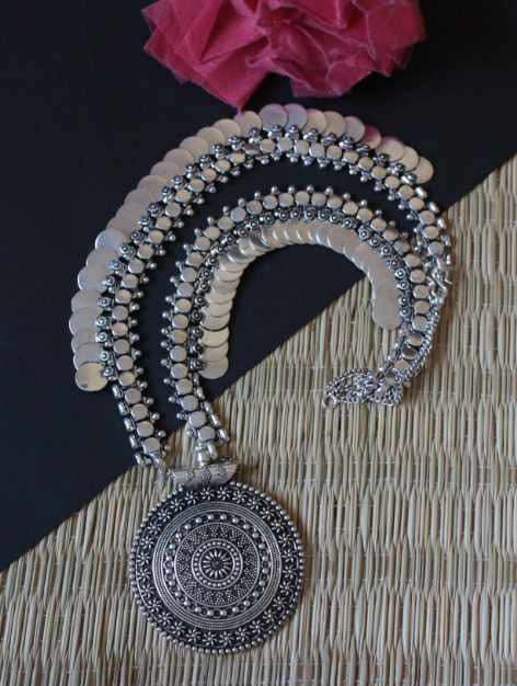 German Silver Based Long Coin Necklace | Kauracious.com