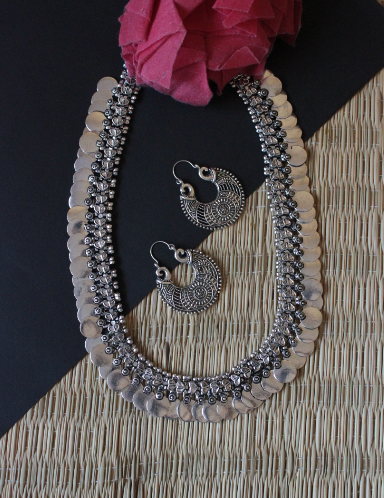 German Silver based long coin necklace set | Kauracious.com