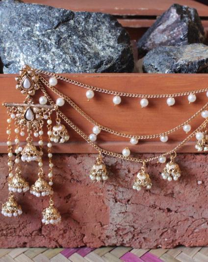 Five Layered Pearl Danglers with bahubali kaanchain | Kauracious.com