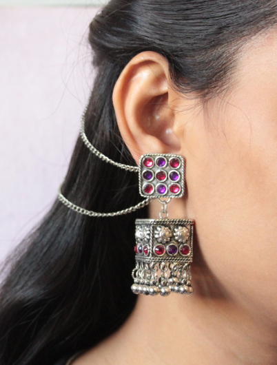 Pink & Purple Stone Studded Square Shaped Jhumki Earrings | Kauracious.com