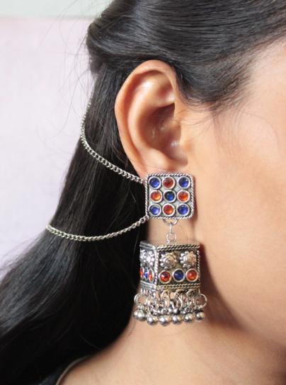 Blue & Orange Stone Studded Square Shaped Jhumki Earrings   Kauracious.com
