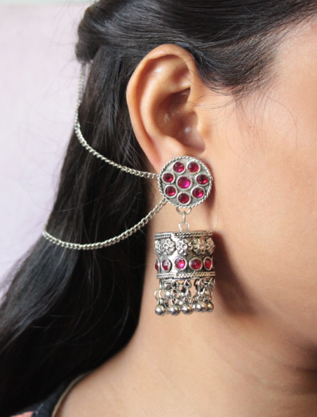 Pink stone studded cylindrical shaped jhumki earrings  | Kauracious.com