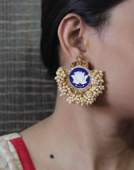 Gold based Pearl Beaded Lotus meena earrings | Kauracious.com