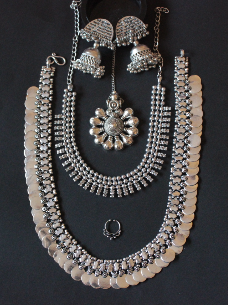 German silver based dual Oxidised necklace set with maang tikka & septum ring | Kauracious.com