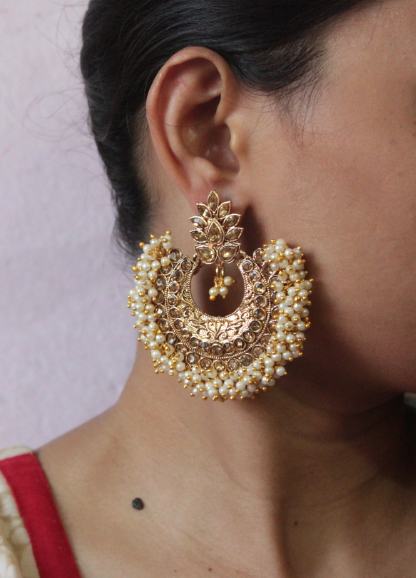 Big size Pearl Beaded AD Earrings | Kauracious.com