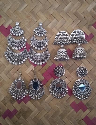 Pack of 4 Oxidised Earrings | Kauracious.com