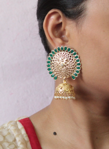 Floral shaped big stud style jhumki earrings | Kauracious.com