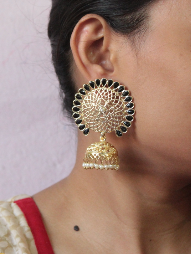 Floral shaped big stud style jhumki earrings | Kauracious.com