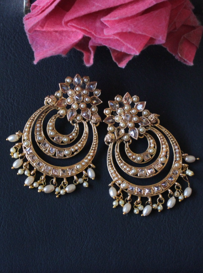 AD Stone studded floral stud style traditional earrings | kauracious.com