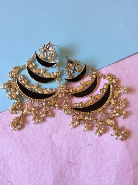 Tripple Layered Traditional Meenakari Earrings | kauracious.com