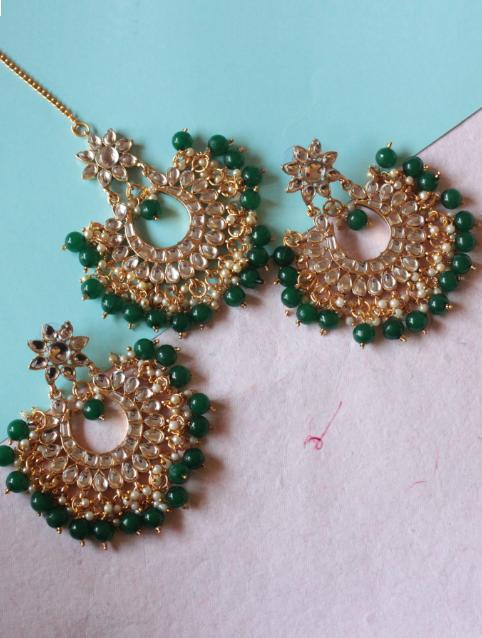 Regular Kundan Studded Green beads tikka earrings set | kauracious.com