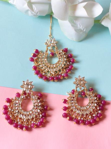 Regular Kundan Studded Green beads tikka earrings set   kauracious.com