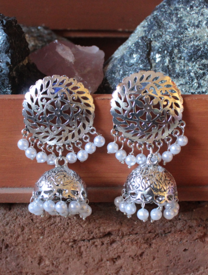 Silver Dome Shaped Jhumka | Kauracious.com