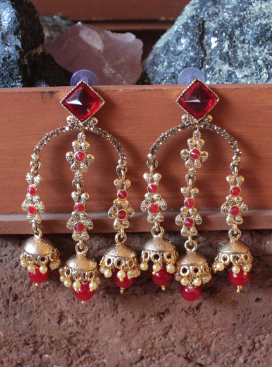 Artificial Stone Studded Tripple Layered Earrings    Kauracious.com