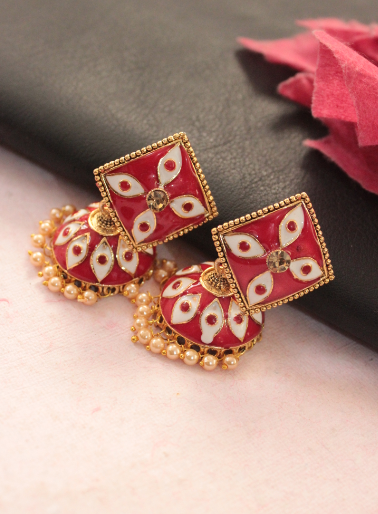 Square shaped meenakari jhumki earrings | Kauracious.com