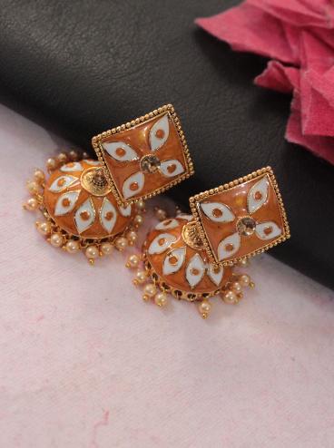 Square shaped meenakari jhumki earrings | Kauracious.com