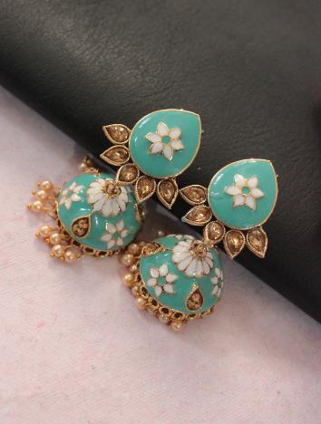 Floral stud style meenakari jhumki earrings | kauracious.com