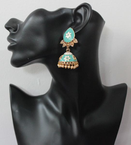 Floral stud style meenakari jhumki earrings   Kauracious.com