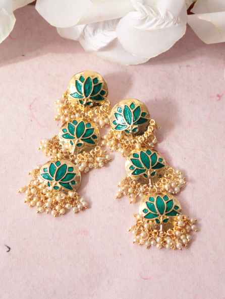 circular stud style 3 layered lotus carved traditional earrings | Kauracious.com