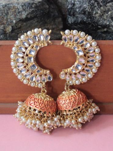 Semi circular stud style jhumki earrings | kauracious.com