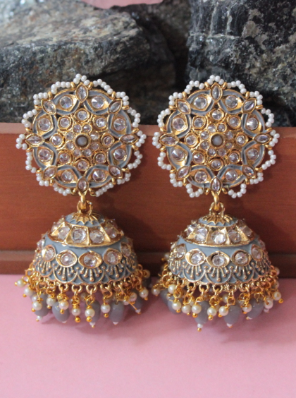 AD stone studded floral shaped over-sized stud style jhumki earrings | kauracious.com