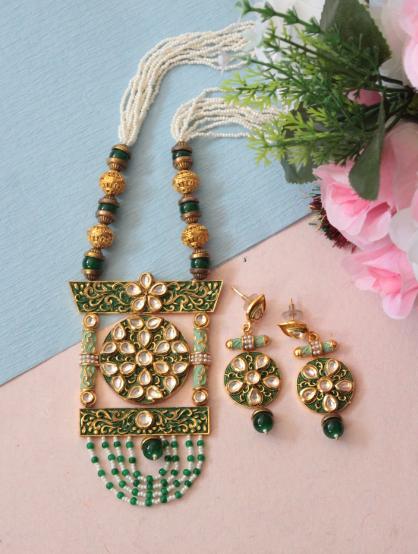 Long Kundan Floral motifs meenakari necklace set | kauracious.com