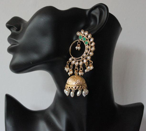 Regular Kundan studded floral stud style jhumki earrings | Kauracious.com