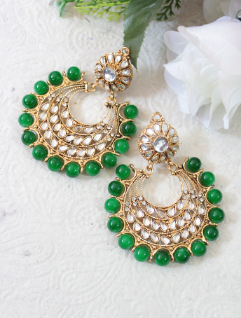 Green beads artificial kundan studded earrings | kauracious.com