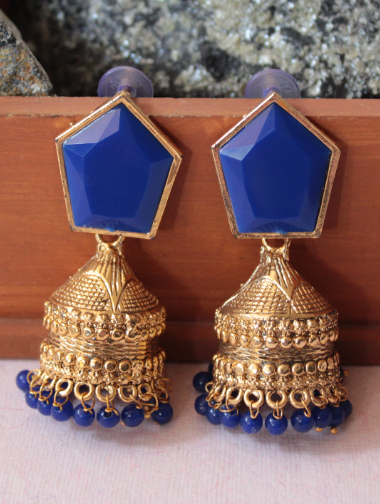 Blue Geometrical Shaped Traditional Jhumka | kauracious.com