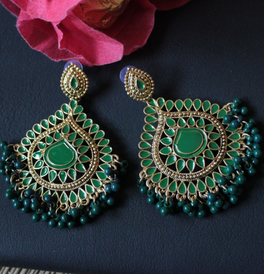 Traditional Green Earrings | Kauracious.com