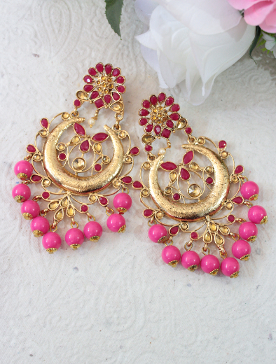 Floral shaped stud long traditional earrings | Kauracious.com