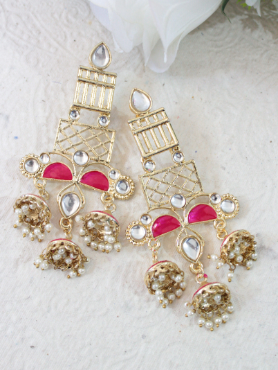 Geometric Pattern Long Tripple Jhumki Earrings | Kauracious.com