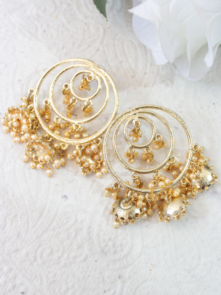 Tripple Jhumki Ring Earrings | Kauracious.com