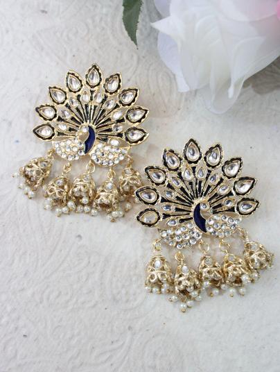 Peacock Stud Style Five Jhumki Earrings   kauracious.com