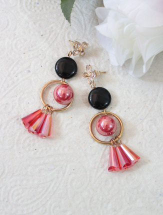 pink and black combination Faux Stone Fashion Earrings | kauracious.com