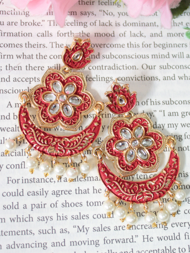 Floral Studs Style Meenakari Chandbali Earrings | kauracious.com