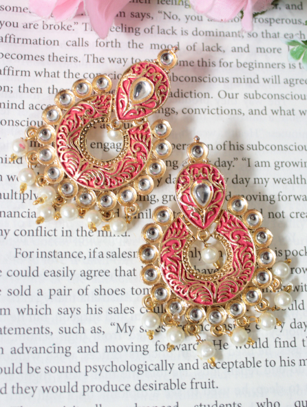 Faux Kundan studded meenakari chandbali Earrings | Kauracious.com