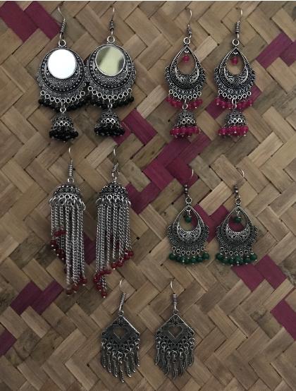 Pack of 5 Regular Wear Jaipuri Earrings   Kauracious.com