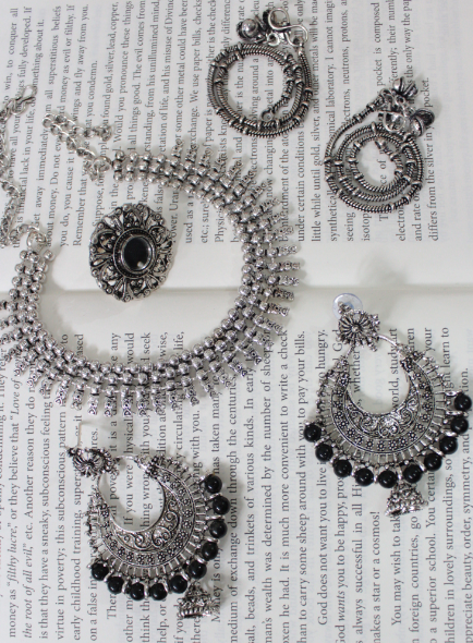 Oxidised Chandbali Necklace Set inclusive of Mirror Ring and Anklets | Kauracious.com