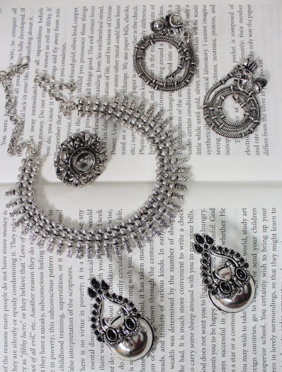 Oxidised Jhumki Necklace Set inclusive of Mirror Ring and Anklets | Kauracious.com