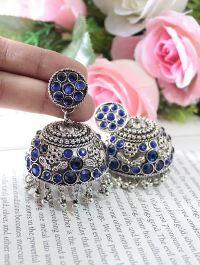 Faux Stone Studded Dome Shaped Jhumka Earrings | kauracious.com