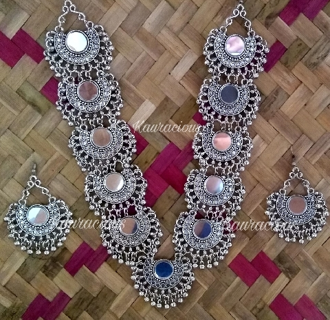 Mirror Rani Haar with chandbali | Kauracious.com