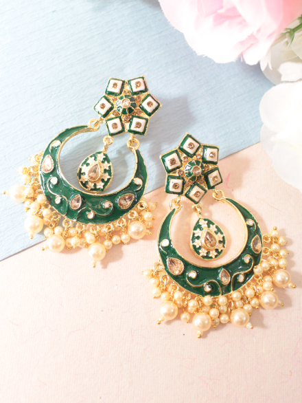 Floral Stud style meenakari earrings | kauracious.com