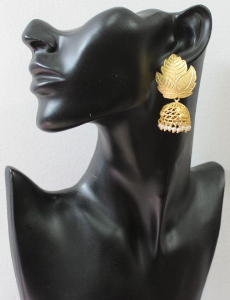 Leaf Stud Style Brass Based Gold Matte Jhumki Earrings | Kauracious.com
