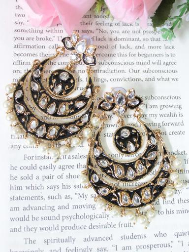 Lotus stud style kundan studded long meenakari earrings | kauracious.com