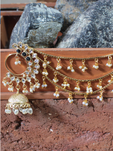 Regular Kundan Studded Floral Stud Style Jhumki Earrings with Kaanchain | kauracious.com