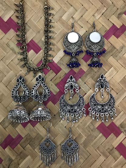 German Silver based oxidised necklace and earrings combo set   Kauracious.com