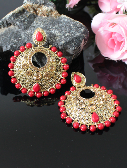Faux AD Stone Studded Beads Earrings | Kauracious.com